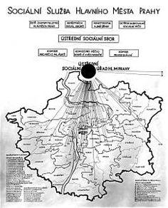 Struktura sociální služby hlavního města Prahy v meziválečném období. Abt 1930. Source: Archiv hlavního města Prahy