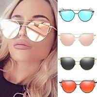 Wish | Sexy New Cat Eye Sunglasses 2017 Woman 7 Color Metal Oversized Eye Cat Sunglasses Women Brand Uv400 Mirror Lentes