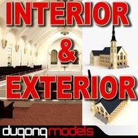 Dugongmodels 3d Models For Download Turbosquid Church Interior Interior And Exterior 3d Model
