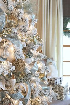 Flocked Christmas Tree with Velvet Ribbon and Metallic Ornaments. christmas tree decor Modern Farmhouse Christmas Home Tour Rose Gold Christmas Decorations, Elegant Christmas Trees, Silver Christmas Tree, Christmas Tree Themes, Noel Christmas, Christmas Tree Ribbon, White Xmas Tree, Homemade Christmas, Christmas Tree Trends 2018