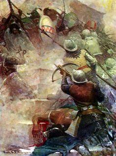 Spanish conquistadores conquering Mexico