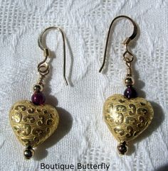'22k Gold Vermeil Hearts with Garnets' is going up for auction at  9am Sat, Sep 8 with a starting bid of $9.