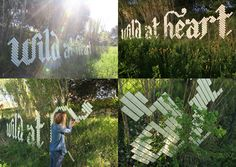 WILD AT HEART  /  A fence in rural Catalunya was transformed into a 10 m message using 12 rolls of masking tape and the fence as a grid.