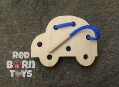 Small hands will love this wooden car lacing board. Hand cut from 1/2 solid poplar wood edges are hand shaped for a softer feel and an organic look.