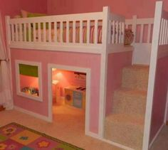On The Hunt For The Perfect DIY Toddler Beds & Reading Nooks FREE tutorial for the diy bunk bed loft with reading room / playhouse beneath! DIY loft bed for kids! From Outstanding to Easy: 20 DIY Toddler Beds Loft Bed Stairs, Playhouse Loft Bed, Bunk Beds With Stairs, Loft Beds, Girls Playhouse, Indoor Playhouse, Stairs Master, Castle Playhouse, Childrens Playhouse