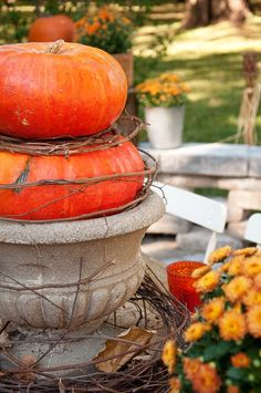 decorating baskets for fall | pop of orange with some vintage look glass votives found at the ...