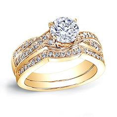 Introducing 18k Yellow Gold RoundCut Diamond Bridal Set 34 cttw JK color I1I2 clarity. Get Your Ladies Products Here and follow us for more updates!