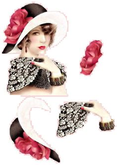 One of my fav images I usually place a feather where the roses on the hat are Debbie Moore, Image Stitching, Christmas Sheets, Art Deco Cards, Image 3d, Flapper Era, 3d Paper Crafts, Paper Art, 3d Sheets