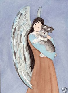 Miniature schnauzer (ears uncropped) with angel / Lynch signed folk art print