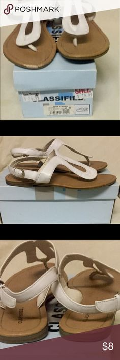 White 8.5M Cherri-C Steve Madden Classified sandal White thong toe with ankle strap. Signs of wear on shoes and bottoms but shoes are in good condition. Shoes have been disinfected even on the bottoms. Steve Madden Shoes Sandals