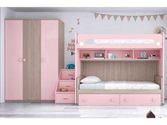 Lit superposé fille avec armoire PERSONNALISABLE F266 - GLICERIO