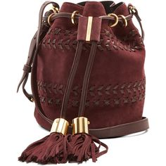 See By Chloé Vicki small suede cross-body bucket bag ($385) ❤ liked on Polyvore featuring bags, handbags, shoulder bags, dark purple, red suede handbag, bucket purse, crossbody shoulder bag, drawstring bucket bags and red crossbody