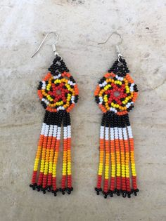 "Spiral Huichol beaded earrings 3"" long"