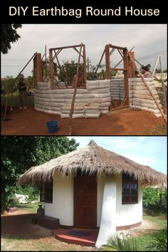 This interesting home is made from earthbags. Aside from being durable structures, earthbag homes are also cheap. Bags can be filled with either dirt from the property itself, or other available sources. It can be built practically anywhere in the world. Backyard Chicken Coops, Chickens Backyard, Tent Camping Beds, Earth Bag, Natural Homes, Round House, Tiny House Design, Pergola, Outdoor Structures