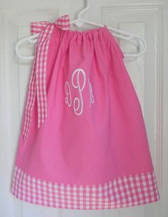 Girls Pillowcase Dress in Pink and White by DesignsByThem on Etsy, $28.95
