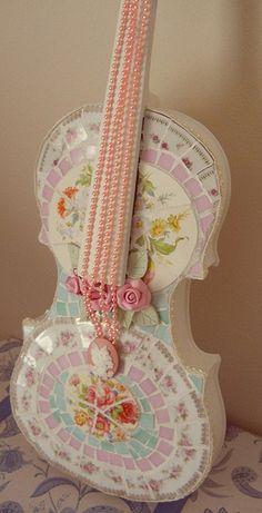 Finished Full size Violin Mosaic by Viktoria's Shabby Cottage, via Flickr