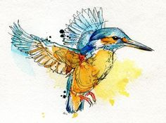 Kingfisher Art Print by Abby Diamond ink and watercolour Watercolor Paintings Of Animals, Watercolor Bird, Animal Paintings, Tattoo Watercolor, Indian Paintings, Watercolor Design, Watercolor Portraits, Watercolor Landscape, Abstract Paintings