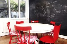 Meeting room - Insight Research Group by Trifle Creative* _ #Office #interiors #workspace #blackboard wall #red chairs