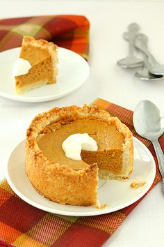 Mini Deep Dish Pumpkin Pies means you'll have room for a slice on Thanksgiving after the big feast. They also make great gifts to box up for the holidays.