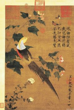 Golden Pheasant and Cotton Rose Flowers - Emperor Huizong - - - Northern Song Dynasty (Gongbi) Arte Latina, Dragons, Parus Major, Golden Pheasant, Realistic Paintings, China Art, Traditional Paintings, Illustrations, Chinese Painting