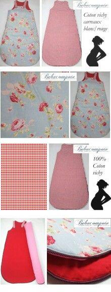 Tisdu coton textile gigoteuse bicolore unique fleurs er vichy garreaux rouge et blanc. Cadeau original naissance bébé. http://www.bebecompote.com forever