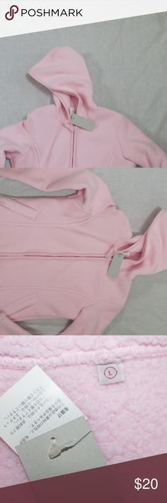 """UNIQLO pink fleece sherpa coat jacket Med-Large New with tags: Outer is a soft microfiber fleece. Lining is a soft sherpa. Sorry the photo chopped off-having issues with pics here lately. This is a JUNIOR's size Large but runs small-fits my daughter who wears a junior's medium, but she no longer wears pink.  Underarm to underarm when zipped about 19.5"""" shoulder to hem 23"""" shoulder to sleeve hem 24"""" Uniqlo Jackets & Coats"""