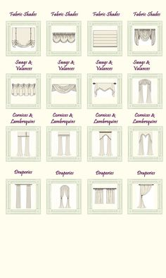 Curtain Styles- This chart makes it easier to find what your looking for when shopping online for curtains.