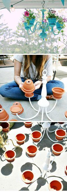une jolie idée pour le balcon ou la véranda, projet de bricolage récup, porte-plantes original