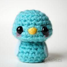 Baby Blue Bird  Kawaii Mini Amigurumi by twistyfishies on Etsy, $12.00