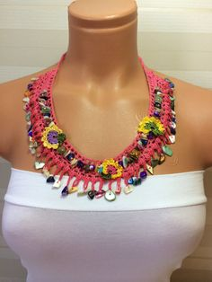 SALE 30 OFF Crochet Beaded Work Strand by multicolor,summer necklace,hand-knitted,gift idea,trendy
