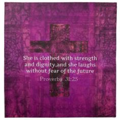 Scriptures of Strength for Women | Proverbs 31:25 Inspirational Bible Verse Women Cloth Napkin
