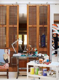 good use for louvered shutters  Sela Ward's Stylish Bel Air Home With a Southern Soul | Traditional Home