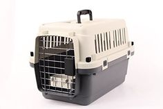 Pet Kennel Direct 22 Airline Approved Plastic Dog  Cat Pet Kennel Carrier or Air Travel with Chrome Door and Free Cup Foldable Dog Travel Crate *** Want to know more, click on the image.