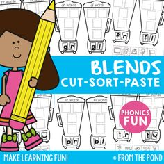 Blends Cut Sort Paste Worksheets This packet includes 20 worksheets to help your students learn about words that have initial double consonant blends. There are 10 sorts, and I have included 2 different versions of each sort. There is a picture sort, and an identical worksheet that is a word sort.