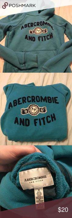 Abercrombie & Fitch hoodie Dark teal A & F hoodie. It's thick and so comfy ! It no longer fits me that's why I'm selling it. It's in great condition and only worn about 2 times. Says a size medium but fits more like a small. Abercrombie & Fitch Sweaters