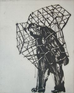 William Kentridge, Zeno at 4am (Caged man)