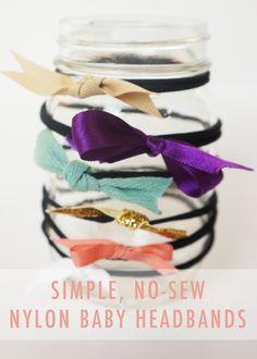 No-Sew DIY Nylon Baby Headbands by Oakland Avenue