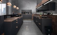 Cozinha Preta: +148 Ambientes e Dicas de Decoração para 2021 Black Kitchen Cabinets, Kitchen Cabinet Design, Kitchen Paint, Black Kitchens, Kitchen Interior, New Kitchen, Kitchen Decor, Kitchen Ideas, Vintage Kitchen