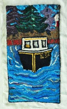 Online portfolio of fabric artist Donna Hutchinson, featuring her Nova Scotian hooked mats, rugs, bowls and other artful creations. Hook Punch, Hand Hooked Rugs, Red Roof, Rug Hooking, Beautiful Hands, Drink Sleeves, Projects To Try, Quilts, Fabric