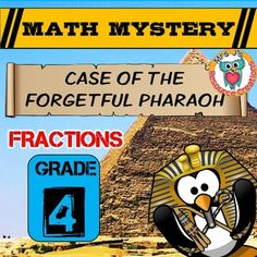 Students use their fraction math skills to discover where the Forgetful Pharaoh left his Scepter in Ancient Egypt! They will be required to reduce fractions to lowest terms, compare fractions, create equivalent fractions, add and subtract with LIKE denominators, and convert improper fractions to mixed number fractions.