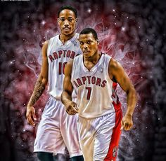 Demar DeRozan and Kyle Lowry Basketball Playoffs, Rockets Basketball, Basketball Socks, Nba Playoffs, Nhl, Toronto Raptors, Kyle Lowry, Sports Art, Sports Teams