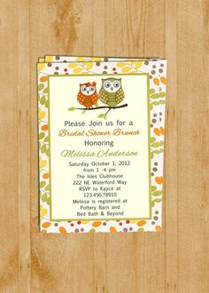 Fall Owl Bridal Shower Invitation Design Autumn by 3PeasPrints, $16.00