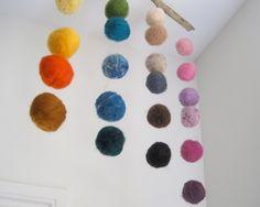 BABY MOBILE - Quiet Rainbow - Felted Wool Balls Hanging Nursery Decor / Waldorf Decoration - Home Decor. $94.00, via Etsy.
