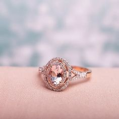 Shop Miadora Rose Gold Oval-cut Morganite and TDW Diamond Double Halo Engagement Ring - Overstock - 28110254 - 10 Quartz Engagement Ring, Double Halo Engagement Ring, Beautiful Engagement Rings, Pink Diamond Engagement Ring, Pink Diamond Ring, Morganite Engagement Rings, Pink Ring, Beautiful Rings, Rose Quartz Ring