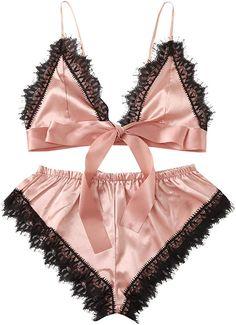 Satin Lingerie, Pretty Lingerie, Lingerie Set, Women Lingerie, Cute Sleepwear, Lingerie Outfits, Floral Lace, Fashion Outfits, Clothes