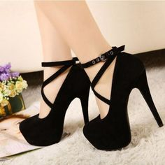 Sexy Cross Strap High Heeled Shoes