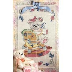 """Bear On Rocking Horse Baby Afghan Counted Cross Stitch Kit-29""""X45"""" 18 Count"""