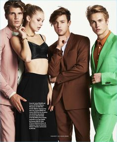 Left to Right: Twan Kuyper wears a Maison Margiela suit and Topman sweater. Josie Canseco models a Dolce & Gabbana bralette with Christian Siriano trousers. Cameron Dallas sports a brown suit by The Kooples with a Lanvin shirt. Neels Visser sports a green Paul Smith suit with a Caruso shirt.