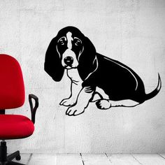 "Style and Apply Basset Hound Wall Decal Size: 35"" H x 46"" W, Color: Brown"