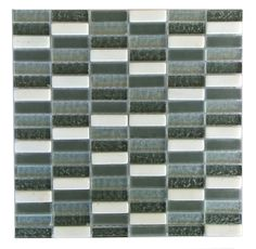 Quartz Glass and Stone Mosaic Tile in Grey and White